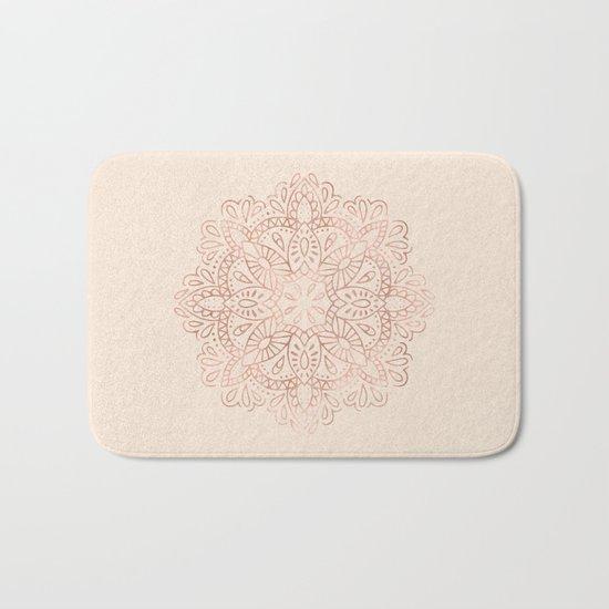 Mandala Rose Gold Pink Shimmer on Light Cream Bath Mat
