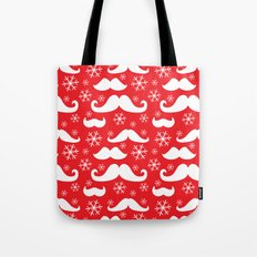 Mustaches and Snowflakes Tote Bag