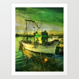 The Green Fisher Boat Art Print
