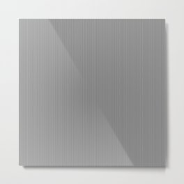 Midnight Black and White Vertical Pencil Stripes Metal Print