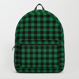 Winter green and black plaid christmas gifts minimal pattern plaids checked Backpack