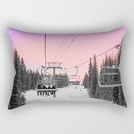 Ski Lift Sunset Shot on iPhone 4 Rectangular Pillow