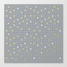 Pin Points Grey, Gold and White Canvas Print