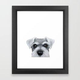 Schnauzer Grey&white, Dog illustration original painting print Framed Art Print
