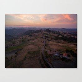emilia romana campagnolo italy farming drone aerial view shot road Canvas Print