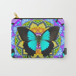 PURPLE AMETHYST BLUE-BLACK BUTTERFLY MANDALA ART Carry-All Pouch