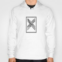 xmen Hoodies featuring Zentangle X Monogram Alphabet Illustration by Vermont Greetings