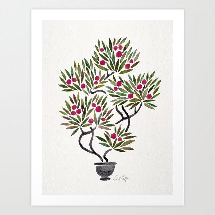 Bonsai Fruit Tree – Sage & Burgundy Palette Art Print