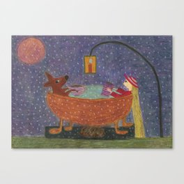 Ozzi and Lulu, The Bush bath Canvas Print