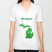 michigan V-neck T-shirts featuring Michigan Map by Roger Wedegis