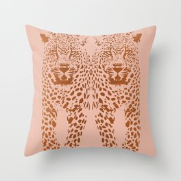 Sunset Blvd Leopard - blush pink and coral original print by Kristen Baker Throw Pillow