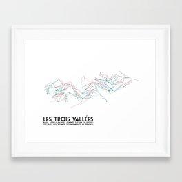 Les Trois Vallees, Savoie, France - European Colors - Minimalist Trail Art Framed Art Print