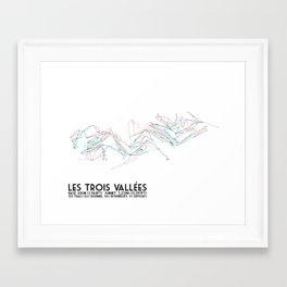 Les Trois Vallees, Savoie, France - European Colors - Minimalist Trail Art Framed Art Print