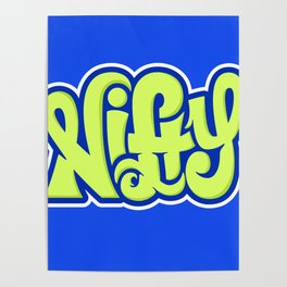 NIFTY HAND LETTERING DESIGN I (GREEN ON BLUE) Poster