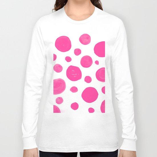 Pink handdrawn dots - Polkadot pattern on white on #Society6 Long Sleeve T-shirt