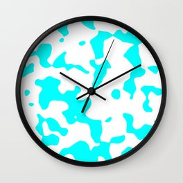Large Spots - White and Aqua Cyan Wall Clock