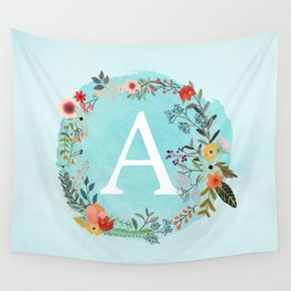Personalized Monogram Initial Letter A Blue Watercolor Flower Wreath Artwork Wall Tapestry