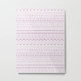 Hand Drawn African Patterns - Dusty Pink Lilac Metal Print