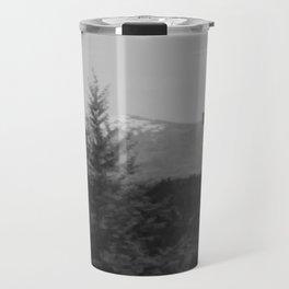 Snow Cap Mountain black and white Travel Mug