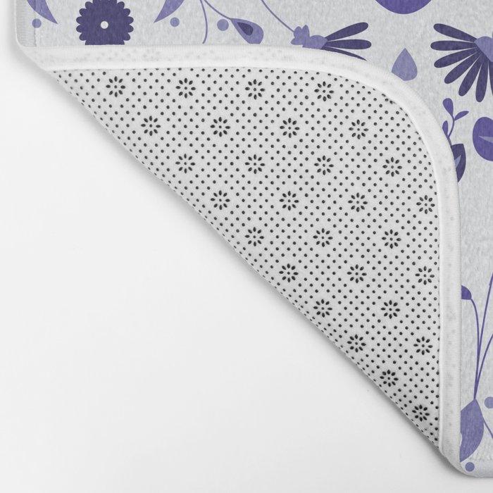 Blue Flower Bohoo Pattern Bath Mat