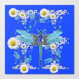 BLUE DRAGONFLIES WHITE DAISY FLOWERS  ART Canvas Print