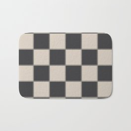 Traditional Checkerboard, Ecru-Beige and Chocolate-Deep Brown Bath Mat
