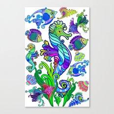 Marine Life Exotic Fishes & SeaHorses Ornamental Style Canvas Print
