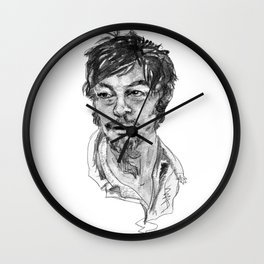 Norman Reedus in Black and White Wall Clock
