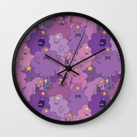lumpy space princess Wall Clocks featuring Lumpy Space Princess by Beesants