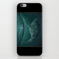 """biology iPhone & iPod Skins featuring """"Eclipse"""" - Green Sea Turtle, Acrylic by Amber Marine"""
