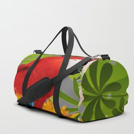 JUNGLE ART RED-BLUE MACAW PARROT & SUNFLOWERS Duffle Bag