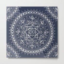 White Flower Mandala on Dark Blue Metal Print