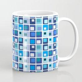 Retro Modern Blue Square Pattern Coffee Mug