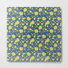 Floral Love of Mustard Metal Print