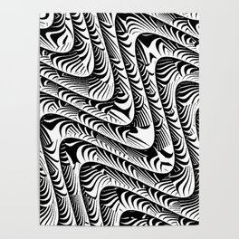 Black and White Serpentine Pattern Poster