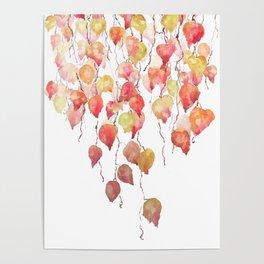 orange red crimson glory vine leaf watercolor Poster