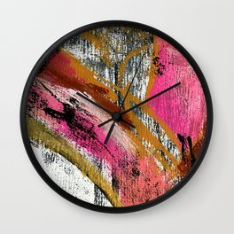 Motivation [3] : a colorful, vibrant abstract piece in pink red, gold, black and white Wall Clock