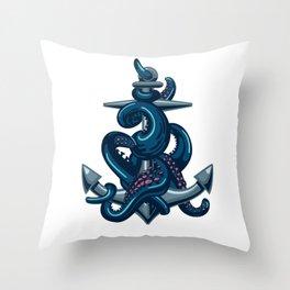 Octopus and Anchor Throw Pillow