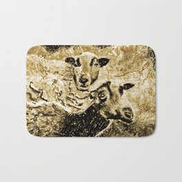 Two Ewes at Sunset Vintage Look Bath Mat