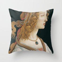 "Sandro Botticelli ""Idealized Portrait of a Lady (Portrait of Simonetta Vespucci as Nymph)"" Throw Pillow"
