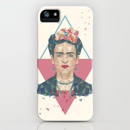 Pastel Frida - Geometric Portrait with Triangles iPhone Case