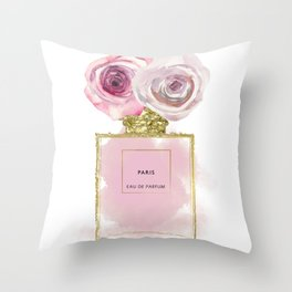 Pink & Gold Floral Fashion Perfume Bottle Throw Pillow