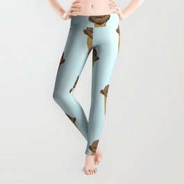 ice cream cones blue food fight apparel and gifts Leggings