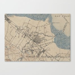Vintage Map of Palo Alto California (1895) Canvas Print