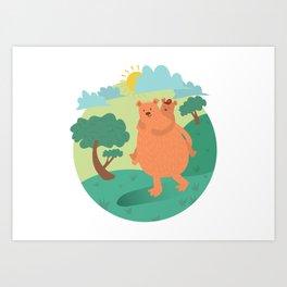 Bear-ther & son, piggy back time Art Print