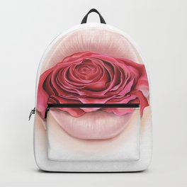 Lips withe Pink Rose - by Greta Darets Backpack