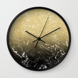 Modern girly luxurious faux gold glitter black marble pattern Wall Clock