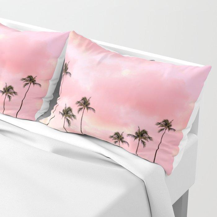 Palm Trees Photography | Hot Pink Sunset Pillow Sham