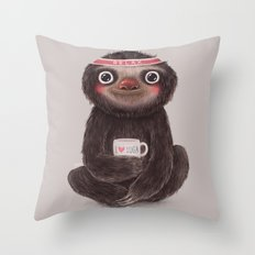 Sloth I♥yoga Throw Pillow