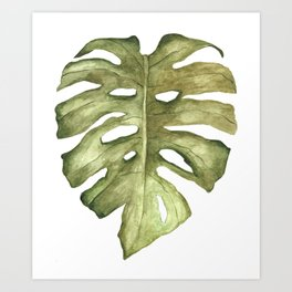 Monstera Leaf Brown Green Art Print